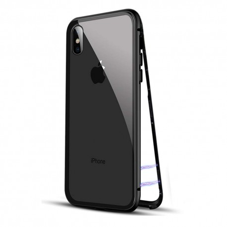 Clear glass back magnetic case iPhone Xmax